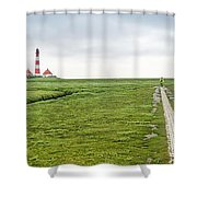 Green Fields And Romantic Lighthouse Shower Curtain