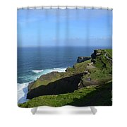 Green Grass On The Sea Cliff's In Ireland Shower Curtain