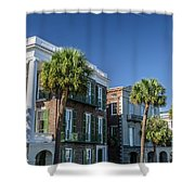 Columns By The Sea Shower Curtain