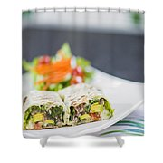 Grilled Vegetable And Salad Wrap Shower Curtain