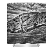 Grounded Plane Wreck Shower Curtain