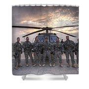 Group Photo Of Uh-60 Black Hawk Pilots Shower Curtain