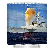 Guided Missile Destroyer Uss Hopper Shower Curtain