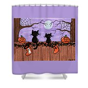 Halloween Cats Fence Shower Curtain