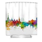 Halmstad Sweden Skyline Shower Curtain