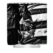 Hand In Flag Shower Curtain
