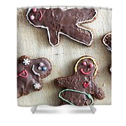 Handmade Decorated Gingerbread People Lying On Wooden Table Shower Curtain