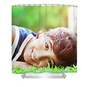 Happy Boy Outdoors Shower Curtain