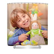 Happy Boy With Easter Bunny Shower Curtain