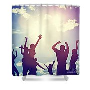 Happy Friends Family Jumping Together Having Fun Shower Curtain