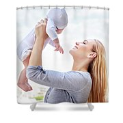 Happy Mother With Baby Shower Curtain