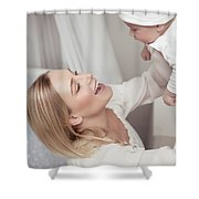 Happy Mother With Her Baby Shower Curtain