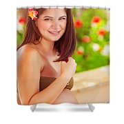 Happy Pregnant Girl On The Beach Resort Shower Curtain