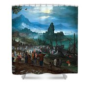 Harbour Scene With Christ Preaching Shower Curtain