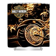 Harley-davidson Shower Curtain by Aaron Berg