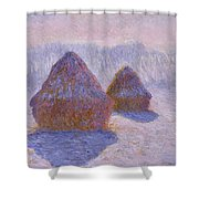 Haystacks, Snow And Sun Effect Shower Curtain