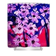 Sunset With Flowers Shower Curtain
