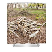 Heap Of Cut Wood Shower Curtain