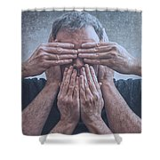 Hear, See, Speak Shower Curtain
