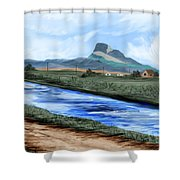 Heart Mountain And The Canal Shower Curtain