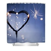 Heart Shape Sparkler Shower Curtain