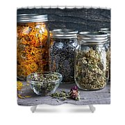 Herbs In Jars Shower Curtain