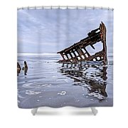 The Peter Iredale Wreck, Cannon Beach, Oregon Shower Curtain