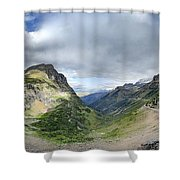 Highline Trail Overlooking Going To The Sun Road - Glacier National Park Shower Curtain