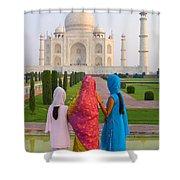 Hindu Women At The Taj Mahal Shower Curtain by Bill Bachmann - Printscapes