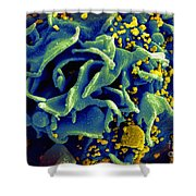 Hiv-infected T Cell, Sem Shower Curtain by Science Source