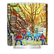 Hockey Game Near Winding Staircases Shower Curtain