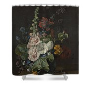 Hollyhocks And Other Flowers In A Vase Shower Curtain