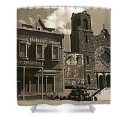 Holy Angel's Catholic Church Rectory  Belles Indian Saloon   The Great White Hope Set Globe Az 1969 Shower Curtain