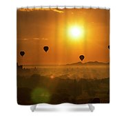 Holy Temple And Hot Air Balloons At Sunrise Shower Curtain by Pradeep Raja PRINTS