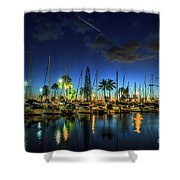 Honolulu Harbor By Night Shower Curtain