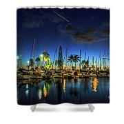 Honolulu Harbor By Night Shower Curtain