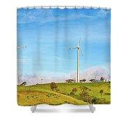 Horizontal Axis Wind Turbines. Panorama Shower Curtain