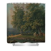 Horses And Cattle By A River Shower Curtain