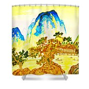 House In Mountains Shower Curtain