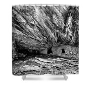 House On Fire Ruin Utah Monochrome 2 Shower Curtain
