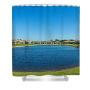 Houses Around Small Lake In North Port Shower Curtain
