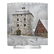 Hovdala Castle Gatehouse In Winter Shower Curtain