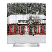 Hovdala Castle Orangery In Winter Shower Curtain