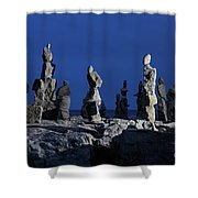 Human Figures Made From Stones At Night Shower Curtain