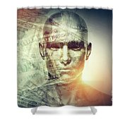 Human Man Face And Dollars Double Exposure. Shower Curtain