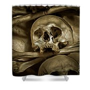 Human Skull And Bones Shower Curtain
