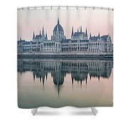 Hungarian Parliament In The Morning Shower Curtain