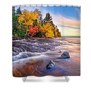 Hurricane River Sunset Shower Curtain