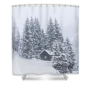 Huts And Winter Landscapes Shower Curtain