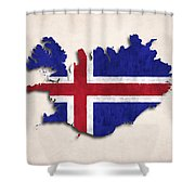 Iceland Map Art With Flag Design Shower Curtain